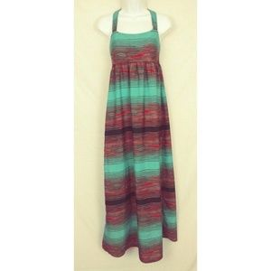 Xhilaration Green Orange & Black Maxi Dress T-Back